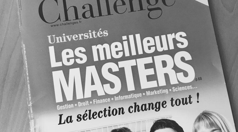 """Le master A2I classé parmi les meilleurs masters selon le magazine """"Challenges"""""""