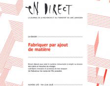 """Parution d'En Direct n° 276 """"Fabriquer par ajout de matière"""""""