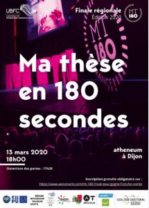 """Finale régionale de """"Ma thèse en 180 secondes"""" @ Atheneum Dijon"""