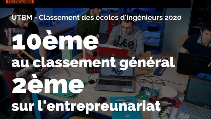 Classement Industrie et Technologie 2020 : L'UTBM entre dans le TOP 10 des d'ingénieurs Françaises